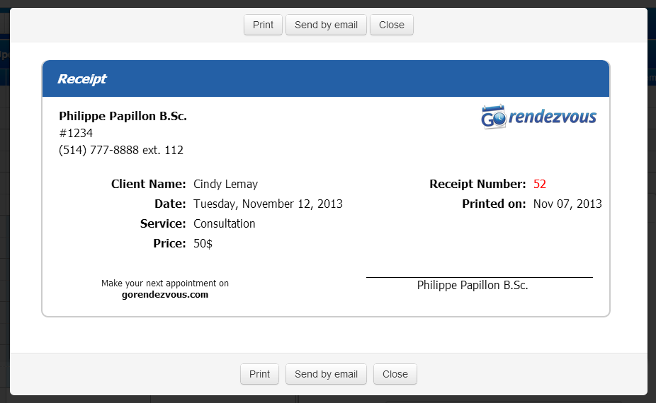 send insurance receipts by email